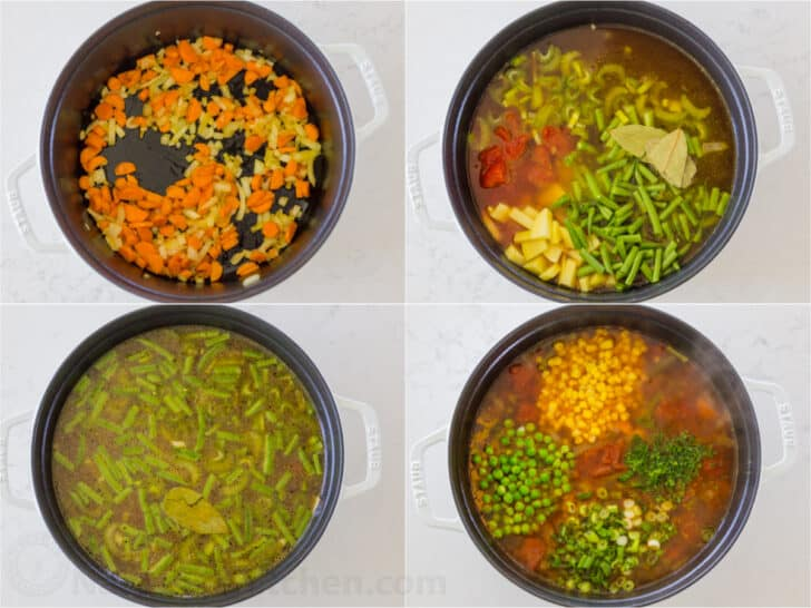 a step by step on making vegetable soup