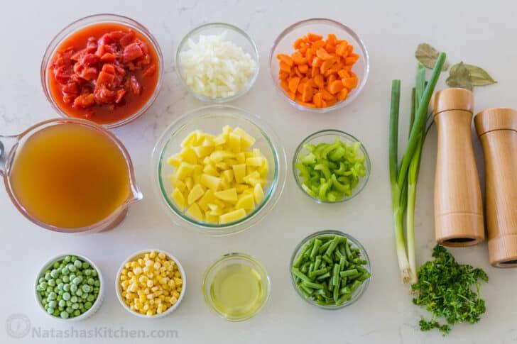 Ingredients for vegetable sopu