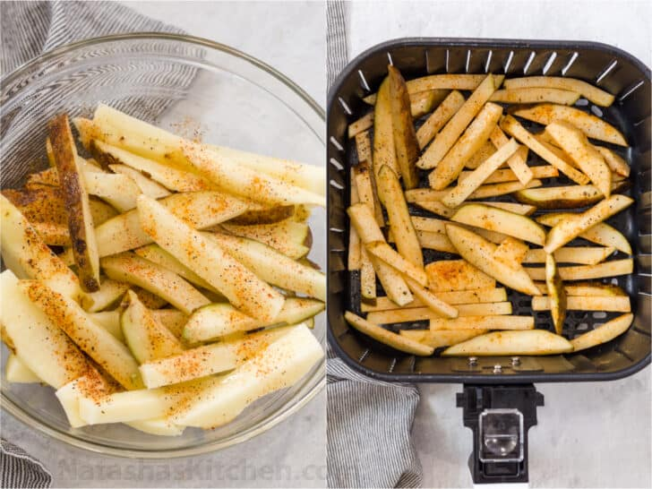 Step by step collage how to make air fryer French fries.