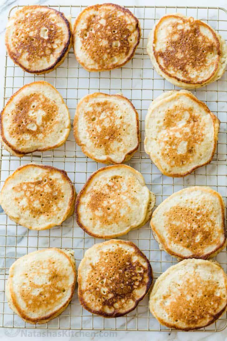 Banana pancakes on a cooling rack