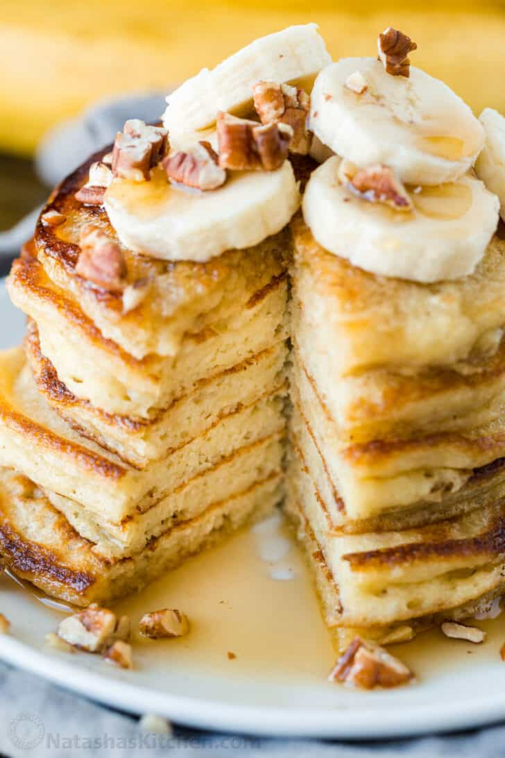 Slice removed from banana pancakes to show center texture