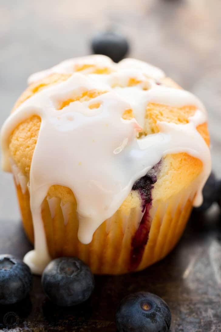 Blueberry muffin covered in lemon glaze