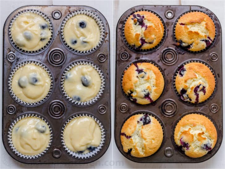 Before and after baking blueberry muffins in tin