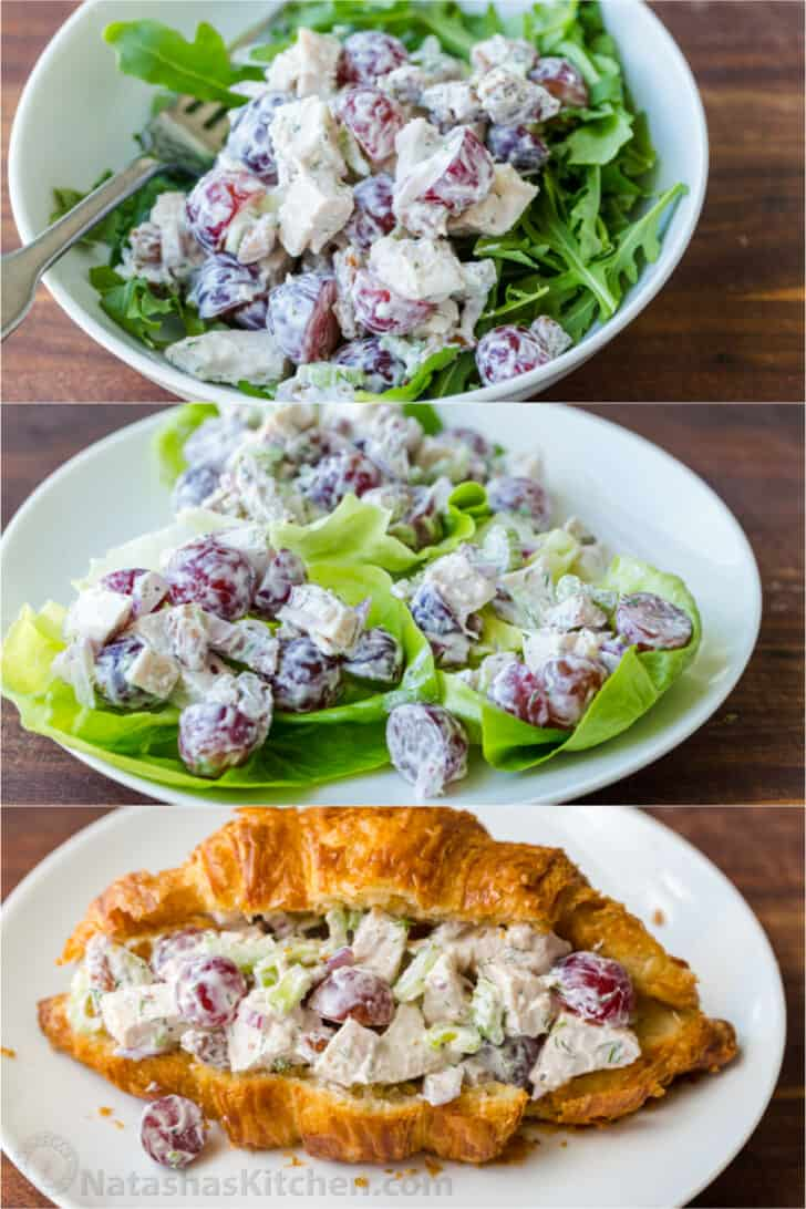 Serving suggestions for chicken salad mix over salad, lettuce cups and crossants