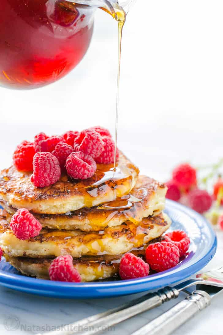 Cottage Cheese Pancakes Recipe drizzled with syrup