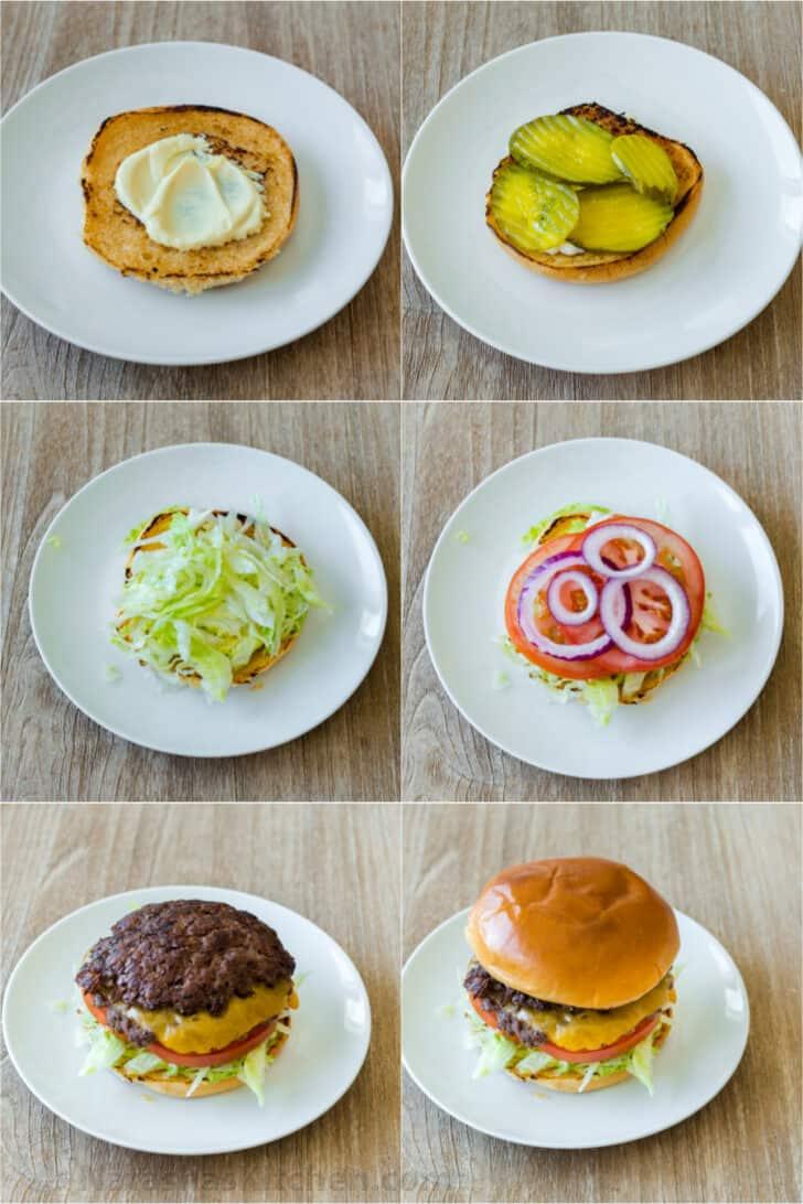 Step by step assembling a smash burger.