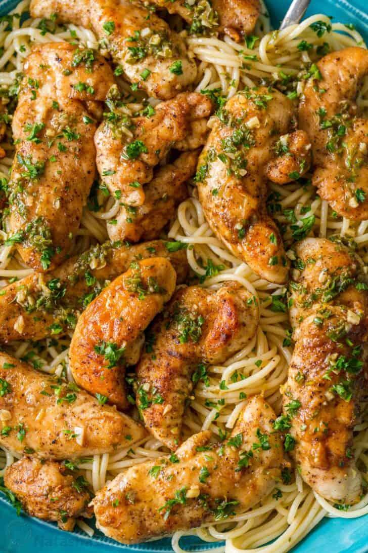 Chicken Scampi main course served over spaghetti