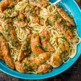 Chicken Scampi served over spaghetti
