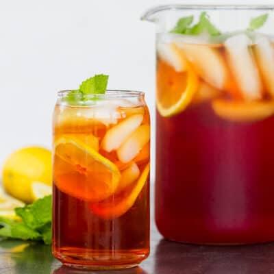 homemade iced tea with iced tea pitcher