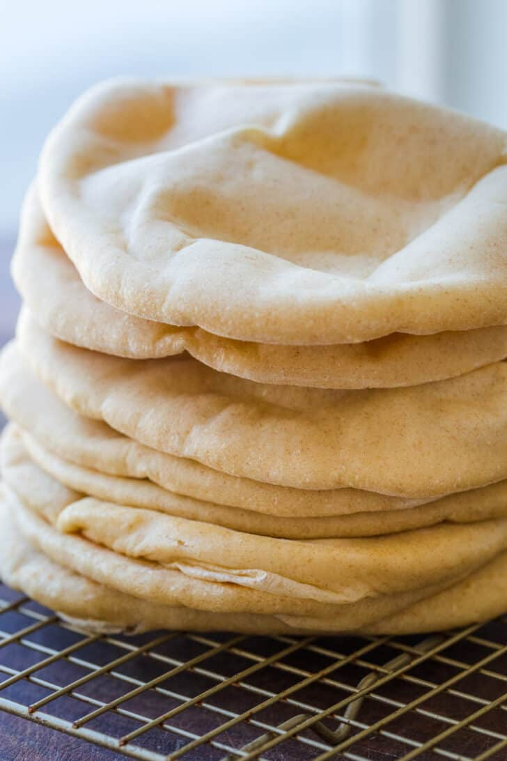 Made ahead pita breads ready for freezer