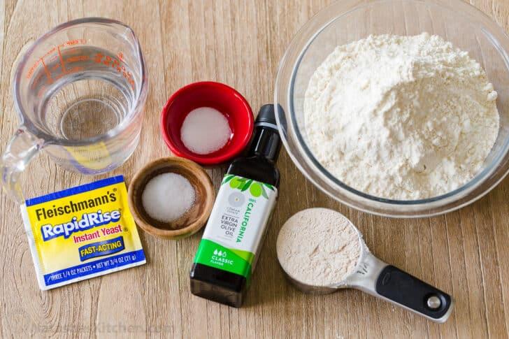 Ingredients for making pita bread