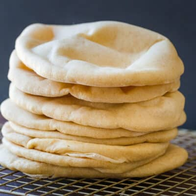Homemade pita bread stacked