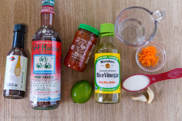 Ingredients for Making Vietnamese Nuoc Cham spring roll sauce