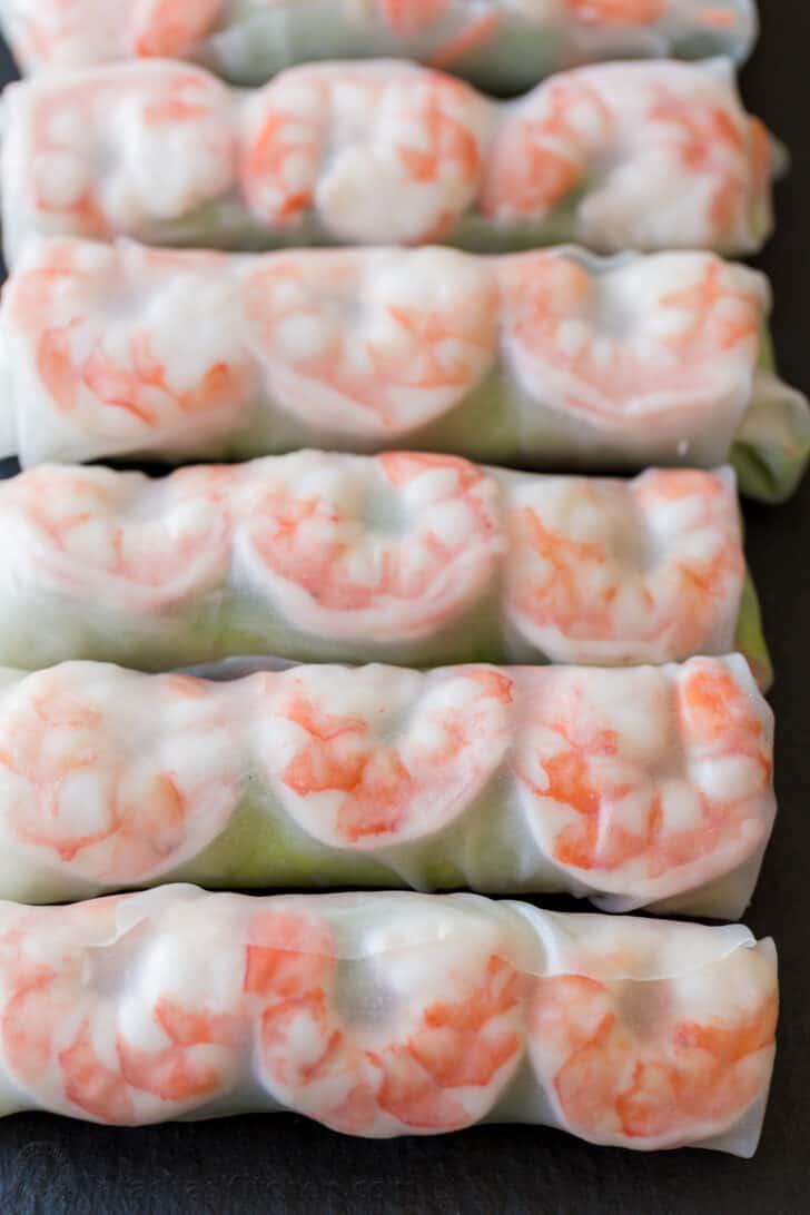 Row of shrimp spring rolls