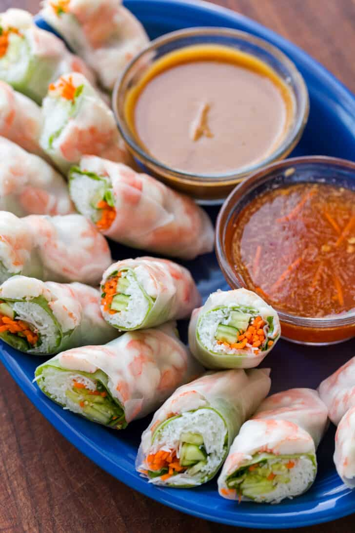 Spring rolls made ahead with sauces and served on serving platter