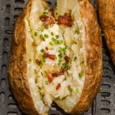 Air Fryer baked potato with toppings