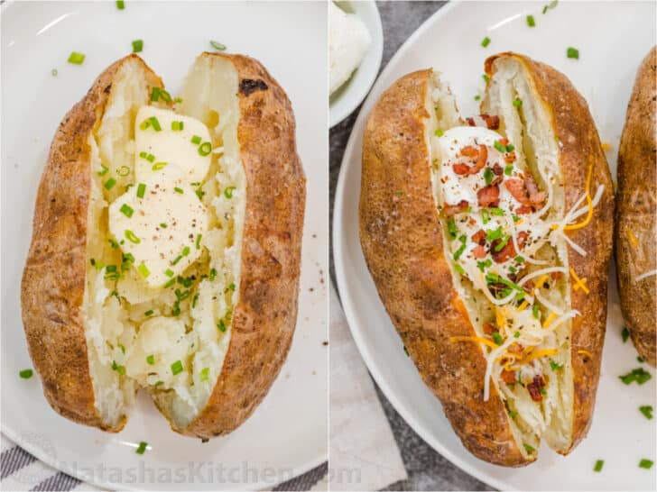 Loaded baked potato sreved two different ways in a collage.
