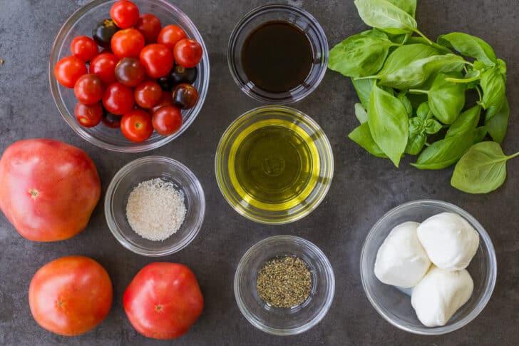Ingredients for tomato burrata salad