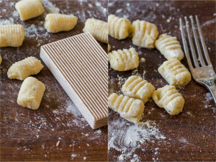 shaping gnocchi with a paddle and a fork