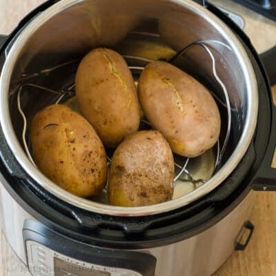 Instant Pot Baked Potatoes on rack
