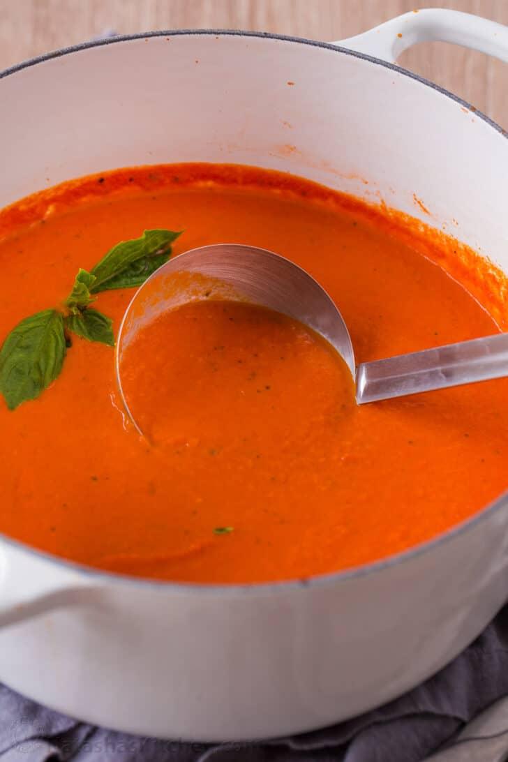 Tomato basil soup cooked in dutch oven nonreactive pot