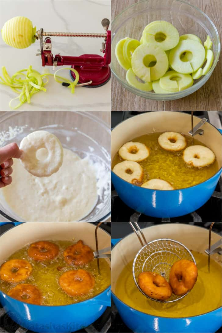 Step by step how to fry apple fritters