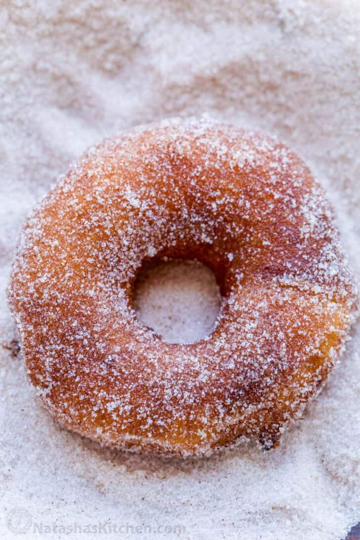 Cinnamon sugar coated apple fritter