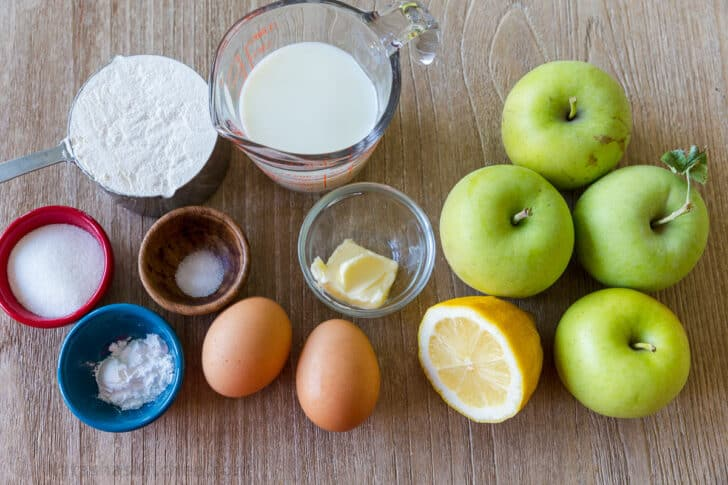 Ingredients for making apple fritter rings