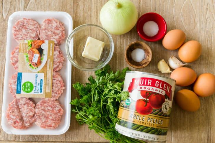 Ingredients for making breakfast shakshuka