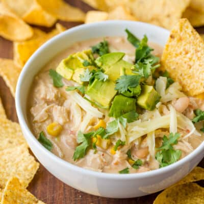 Chicken Chili served with tortilla chips