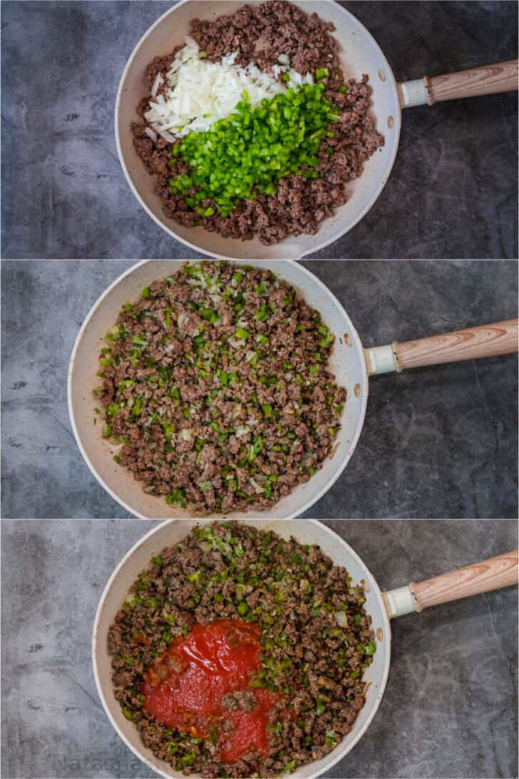 Step by step collage of how to make homemade sloppy joes from scratch.