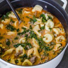Tortellini soup in pot