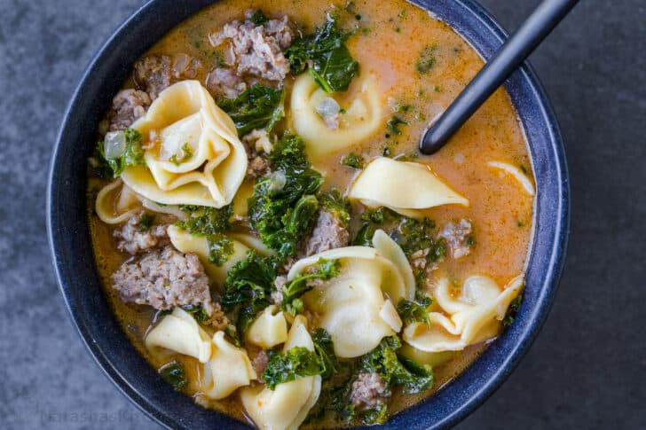 Tortellini soup served in a bowl