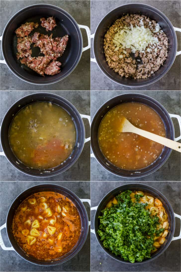 step by step on making tortellini soup