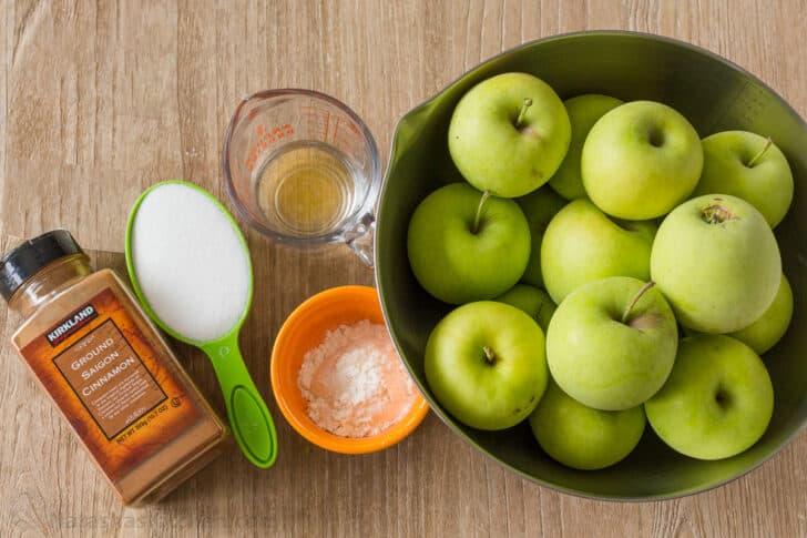 Ingredients for homemade apple crisp